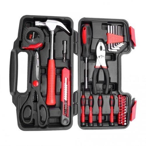 38pcs DIY Household Home Hand Tools Set with Box Hammer Pliers Scissors Repair Tool Kit