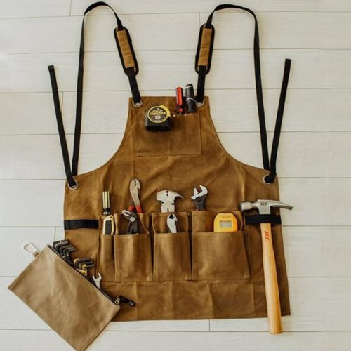 Oil Waxed Canvas Retro Apron Garage Garden Hardware Workshop Waterproof and Oil Proof Apron Multi Pockets Strong Tool Apron