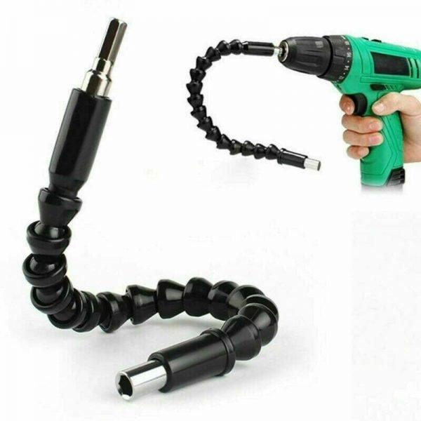 2PC 1/4 Inch Right Angle Flexible Drill Attachment Screwdriver Head Bits