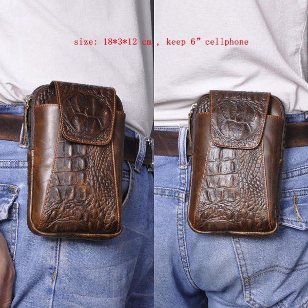 "Real Leather men Casual Design Small Waist Bag Cowhide Fashion Hook Bum Bag Waist Belt Pack Cigarette Case 5.5"" Phone Pouch 1609"