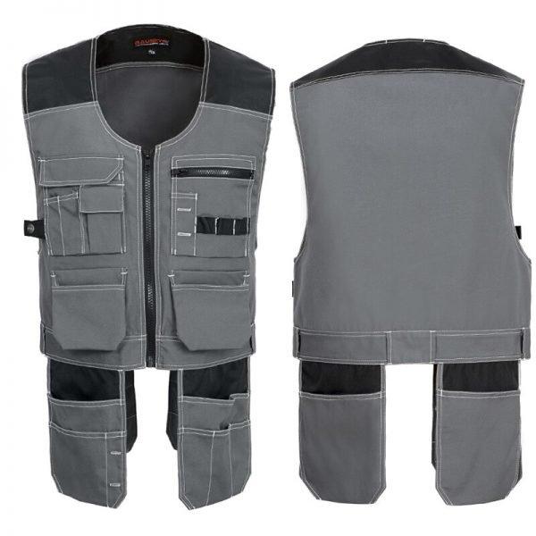 Bauskydd High Quality Men Male Female Outdoor Workwear Mens Work Vests Multifunction Tool Multi Pockets Vests Blue/Grey