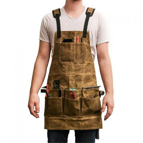 Tool Storage Apron Multiple pockets Waxed Oil Wax Cloth Tools Waterproof Apron for Men Woodworking Housework Tool Storage