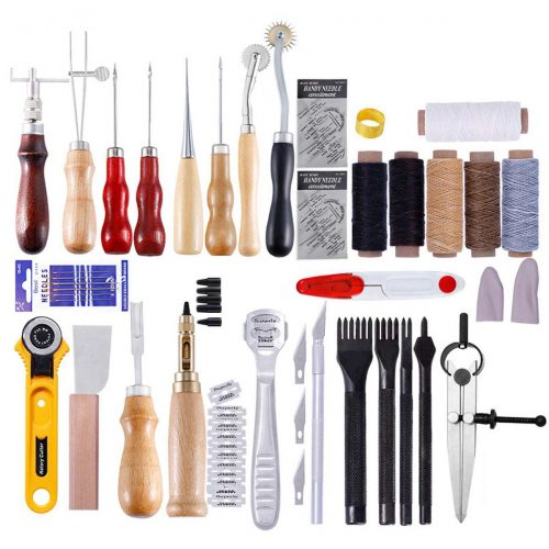 61Pcs/Set Leather Craft Tools Kit Hand Sewing Stitching Carving Punch Work Saddle Groover Professional Leathercraft Tool