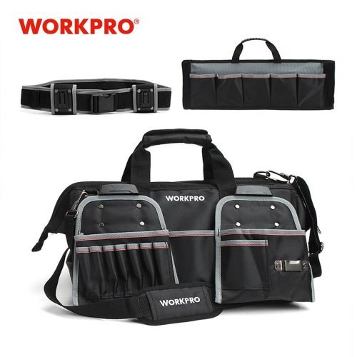 """WORKPRO 18"""" Tool Bags Belt Tool Pouch 1680D Close-top Wide-Mouth Storage Bag Waterproof Bags Large Capacity Bags"""