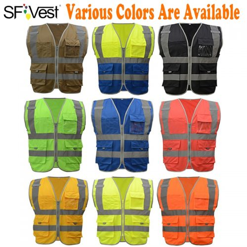 High Visibility Waistcoat Reflective Safety Vest Mens Construction Worker Night Runner Cyclist 9 Colors Company Logo Print