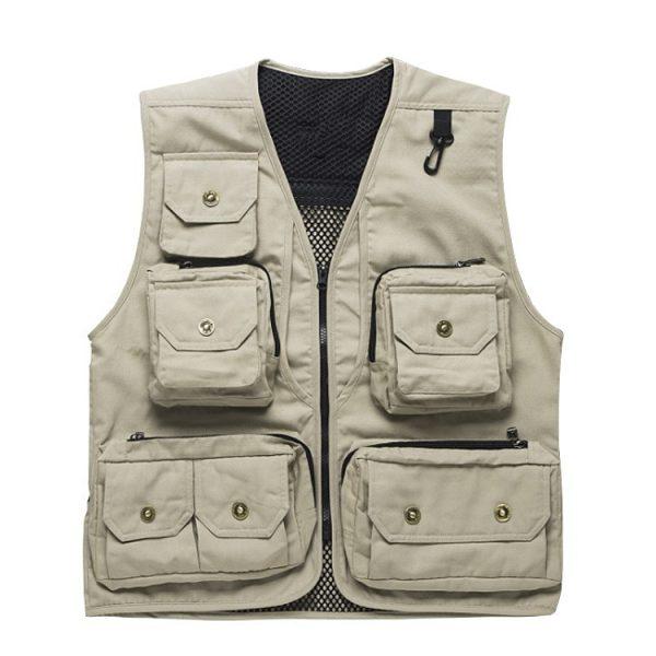 mens outdoor vest multi pocket waistcoat for photography director reporter outdoor worker advertising men's fishing vest