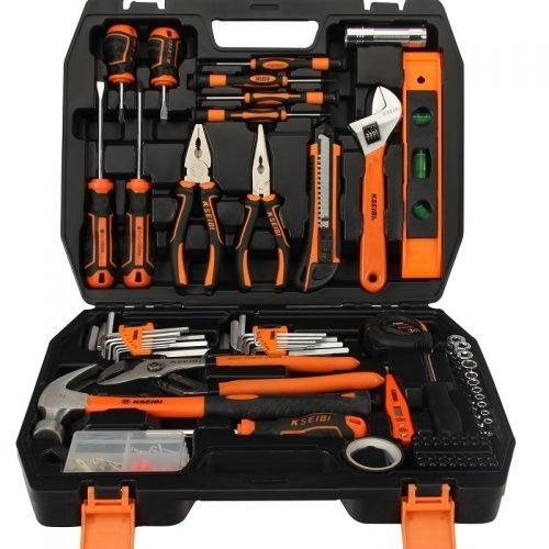 KSEIBI Household Garage Car Repair Tool Set with Plastic Toolbox Storage Case